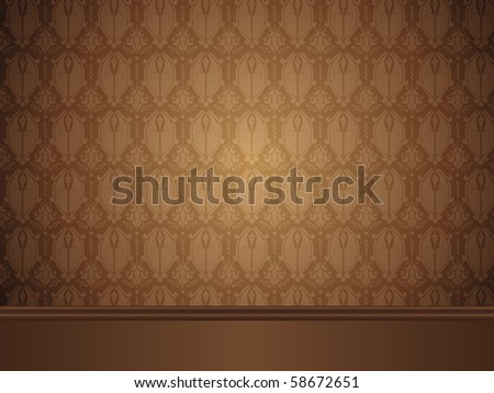 Vintage Room with wood floor and seamless wallpaper. - stock photo