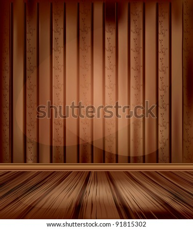 vintage room with wooden floors and lighting - stock photo