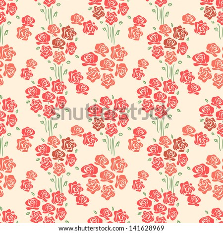 Vintage Rose Wallpaper Background. Retro Style Floral Seamless Pattern.