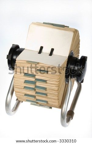 Vintage rotary card file holder with blank tabs on white background - stock photo