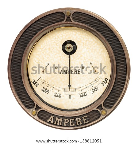 Vintage round analog ampere meter isolated on a white background - stock photo