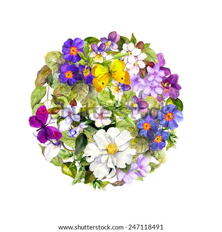 Vintage round background - floral pattern with blue-violet flowers and spring butterflies. Retro watercolor - stock photo