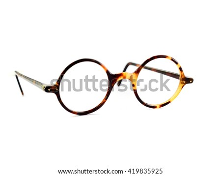 Vintage round glasses isolated on white background