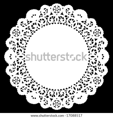 Vintage Round Lace Doily Place Mat, black background, for setting table, cake decorating, celebrations, holidays, sewing, scrapbooks, arts and crafts. - stock photo