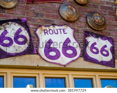 Vintage Route 66 road signs located in California, USA - stock photo