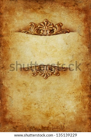 Vintage royal gold vertical background with floral ornaments and text space in the middle - stock photo