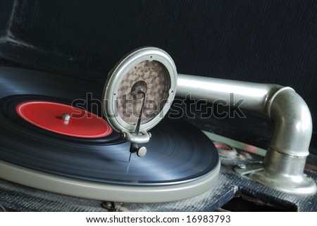 Vintage 78 RPM Victrola Record Player - stock photo