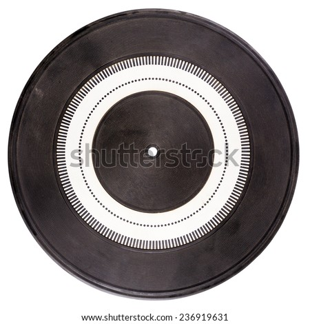 Vintage rubber turntable platter mat with strobe pattern in the center isolated on white - stock photo