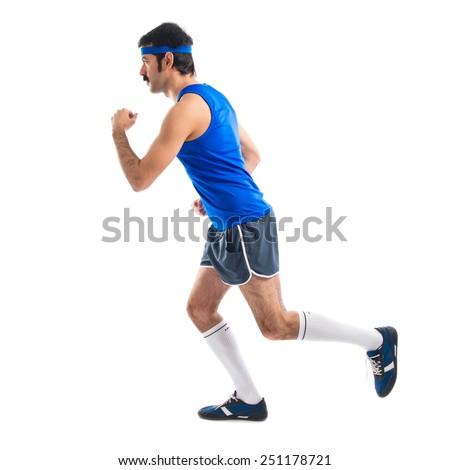 Vintage runner running fast  - stock photo