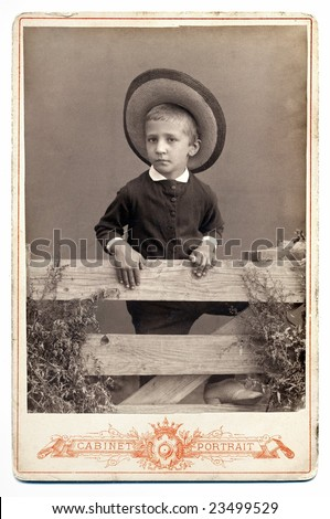 Vintage Russian portrait, end of XIX century. - stock photo