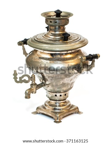 Vintage russian tea samovar isolated on white background