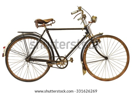 Vintage rusted bicycle isolated on a white background - stock photo