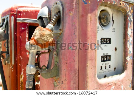 Vintage Rusted Gas Pump - stock photo