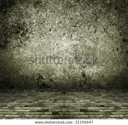 vintage rustic house dark interior, concrete brick texture background - stock photo