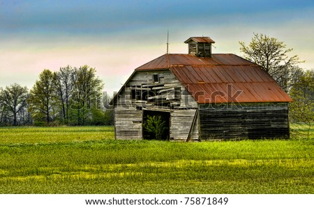 Vintage rustic old barn - stock photo