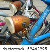 vintage rusty bicycle detail - stock photo