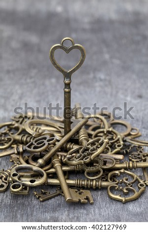 vintage rusty key standing on grunge wooden background  - stock photo