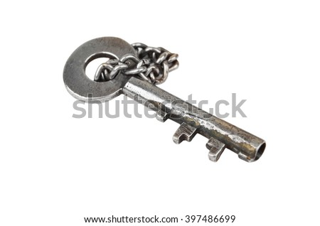 Vintage rusty key with chain, isolated on white background - stock photo