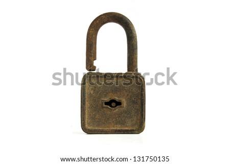 Vintage rusty padlock isolated on white background - stock photo