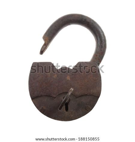 Vintage rusty padlock unlocked with key isolated on white background - stock photo