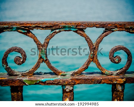 VIntage Rusty Railings By The Sea In The Port Of Marseille, France - stock photo