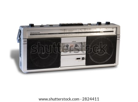 Vintage 80's boom box stereo isolated on white with shadows. Clipping path included (no shadow)