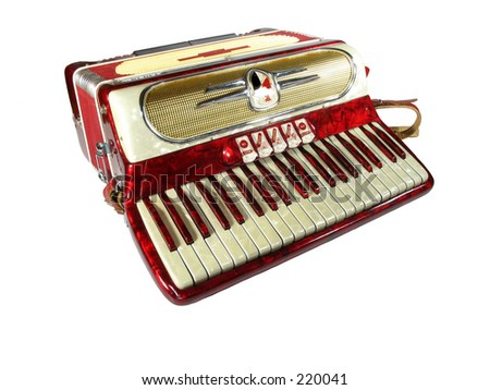 vintage 1950's era accordion isolated on white background - stock photo