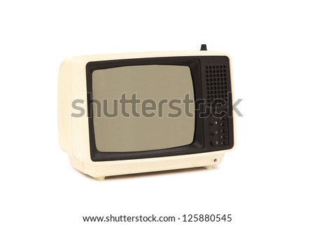 Vintage 1960s Portable Television isolated on white
