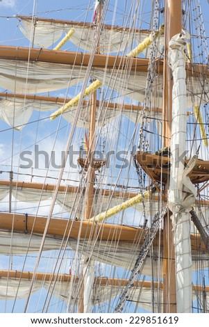 Vintage sailboat rigging - stock photo