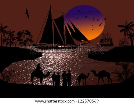 Vintage sailboat sailing at sunset on arabian seascape and camel caravan - stock photo