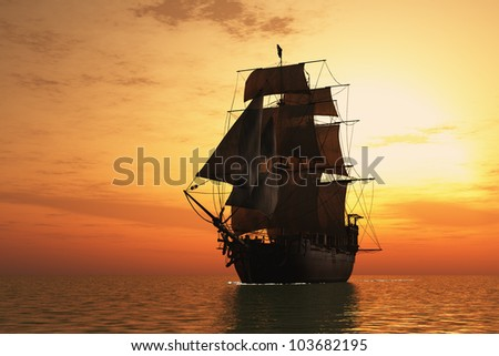Vintage sailboat vmore at sunset. - stock photo