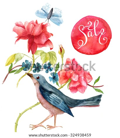 Vintage 'Sale' design with watercolor drawings of a blue bird, pink roses and a teal butterfly, with modern calligraphy script on a red dot, on white background - stock photo