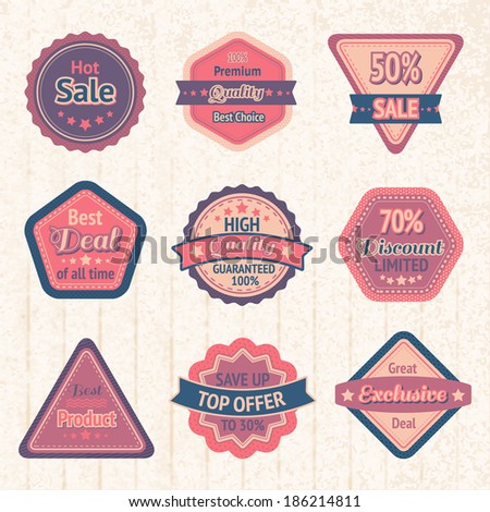 Vintage sale labels and badges set on cardboard for best price high quality and exclusive deal  illustration - stock photo