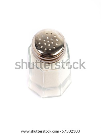 vintage salt shaker on white background - stock photo