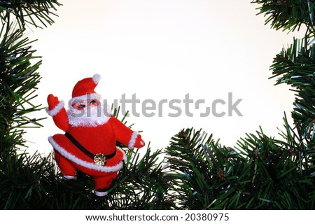 vintage santa, evergreen branch over a white background with room for copy