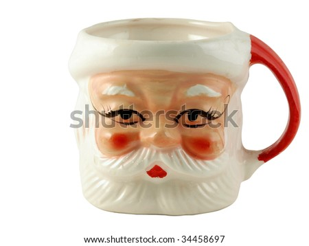 Vintage santa mug with rosie face and red handle.