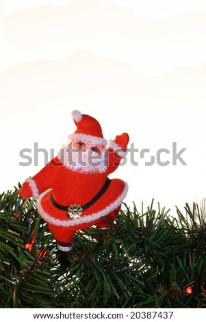 vintage santa on evergreens, over a white background with room for copy. - stock photo