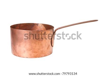 vintage saucepan, cooking pot - stock photo