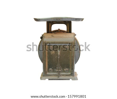 Vintage Scales on white background - stock photo