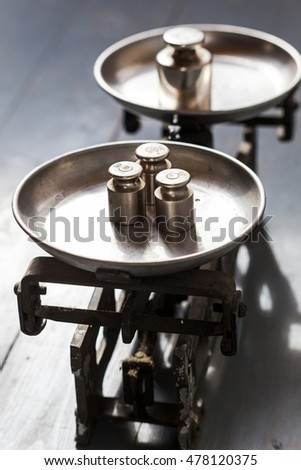 vintage scales with weights