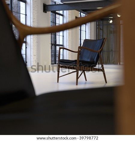 Vintage Scandinavian armchair in converted industrial loft (3D render)