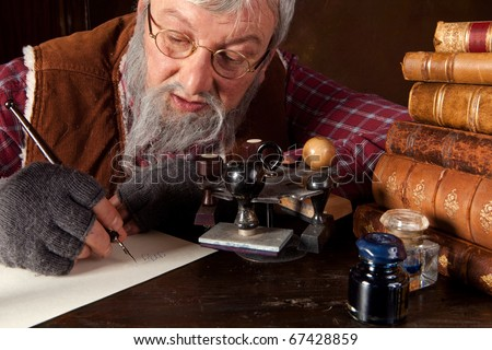 Vintage scene of an old man working in an antique office