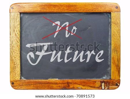 vintage school blackboard, concept future - stock photo