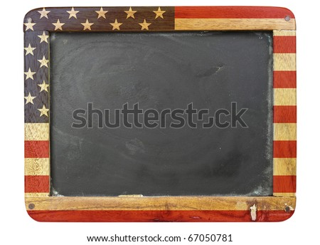 vintage school blackboard,stars and stripes, free copy space - stock photo