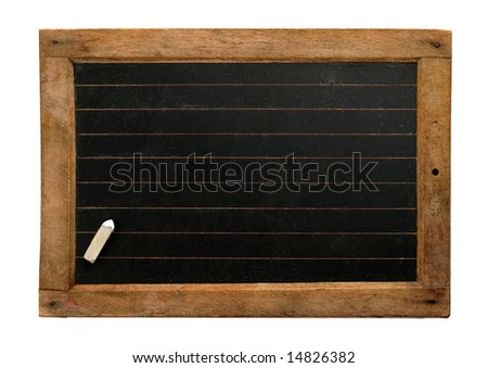 Vintage school blackboard with lines and chalk - stock photo