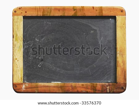 vintage school blackboard, with paint splatters , worn and grungy, free copy space - stock photo