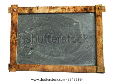 vintage school blackboard,  worn and grungy, free copy space, isolated on white background - stock photo