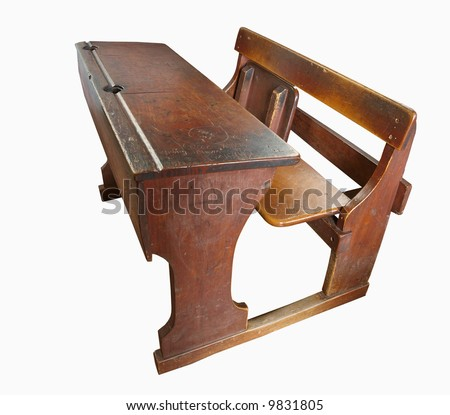 Vintage School Desk - stock photo