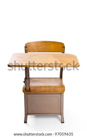 Vintage school desk isolated on white - stock photo