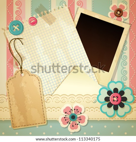 Vintage scrapbook background - raster version